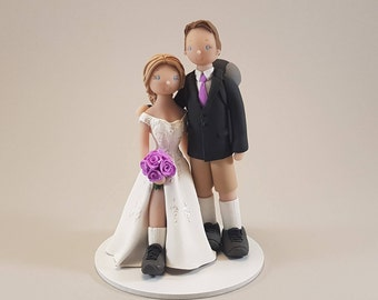 Bride & Groom Custom Made Hiking Theme Wedding Cake Topper