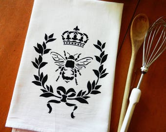 Bee Tea Towel Screen Printed Flour Sack Dish Towel, French Country Decor, Farmhouse Decor, French Cottage, Bee Lover Gift, Housewarming Gift