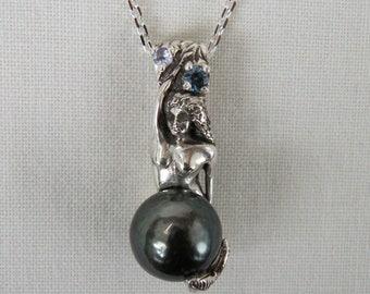 Mermaid Pendant - sterling silver & Tahitian pearl