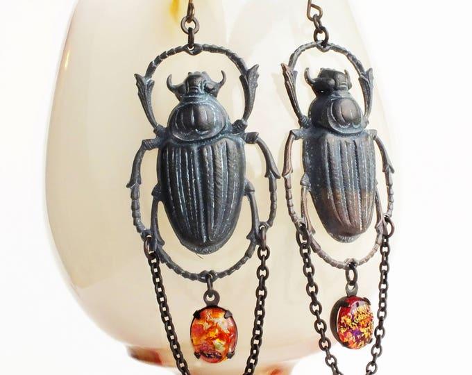 Large Beetle Earrings Black Brass Scarab Dangles Huge Insect Earrings Chunky Dragons Breath Opal Earrings Beetle Jewelry Statement Earrings