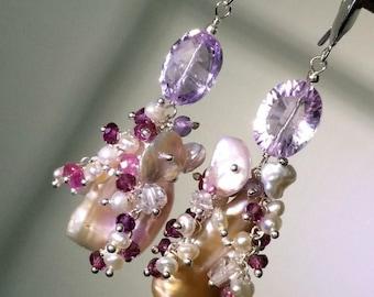 30% SALE Blush Biwa Pearl Cluster Earring Wire Wrap Wedding Earrings Garnet Keishi Pearl Luxury Gemstone Earring Romantic Bohemian Bride Blu