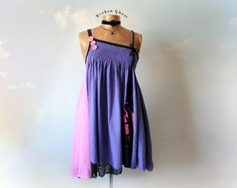 Purple Summer Dress Boho Sundress Upcycled Clothing Shabby Hippie Patchwork Babydoll Dress Eco Friendly Clothes Loose Draped M L 'CASSIDY'