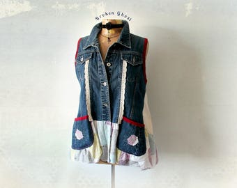 Women's Denim Vest Plus Size Fashion Boho Chic Clothing Shabby Style Layering Top Tunic with Pockets Hippie Festival Vest 1X 2X 'JULIANNA'