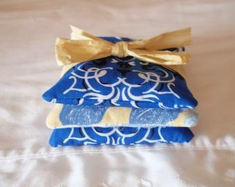SUMMER SALE - Handmade Lavender Sachets, Assorted Royal Blue & Yellow Fabrics, Eco Friendly Sachets, Air Fresheners, Dryer Sheets - SET of 3