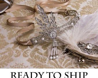 Flapper Headband Great Gatsby Headband Daisy Buchanan Costume Great Gatsby Costume 1920's Headband Wedding Headband Bridal Headpiece