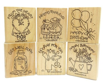 1996 Vintage STAMPIN' UP! Lot of 6 Wood Mounted Rubber Stamps, Birthday Friends Craft Supplies,