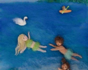 Summer Wool Painting Illustration Giclee Swimming Print from Seasons of Joy, Signed