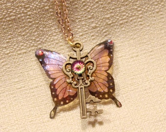 Pink Iridescent Butterfly Fairy Wing Bronze Key Pendant Necklace, translucent rainbow resin magical fairytale woodland fantasy jewelry