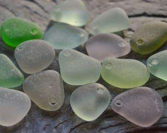 Drilled Genuine Beach Sea Glass Pendants Bulk Drilled Seaglass Beach Glass Jewelry Supply