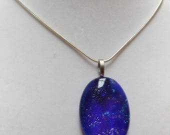 Simple Blue Dichroic Oval Fused Glass Pendant W/silver Plated Necklace Necklace