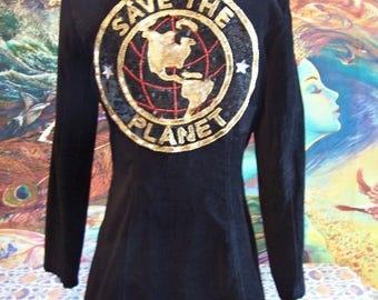SAVE the PLANET, Velvet Jacket, Black, Blazer, Vintage, Coat, size M