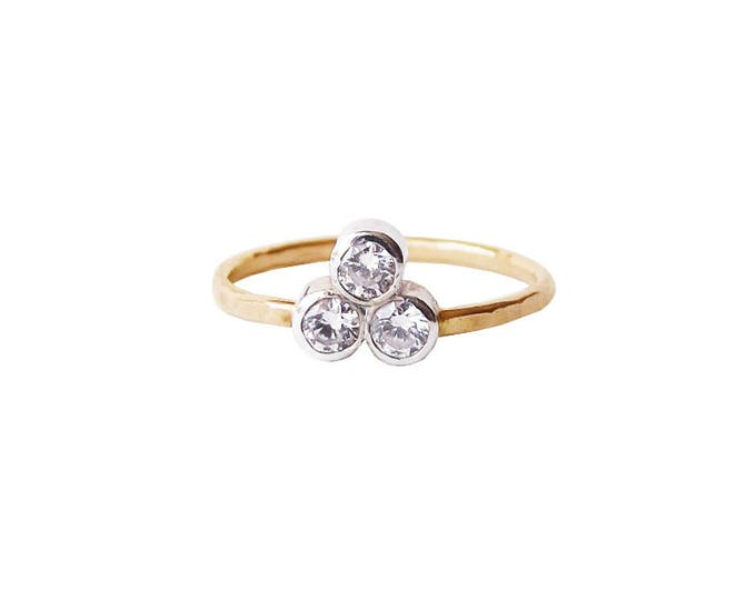 14K Gold Harmony Diamond Cluster Engagement Ring, Past Present Future ring