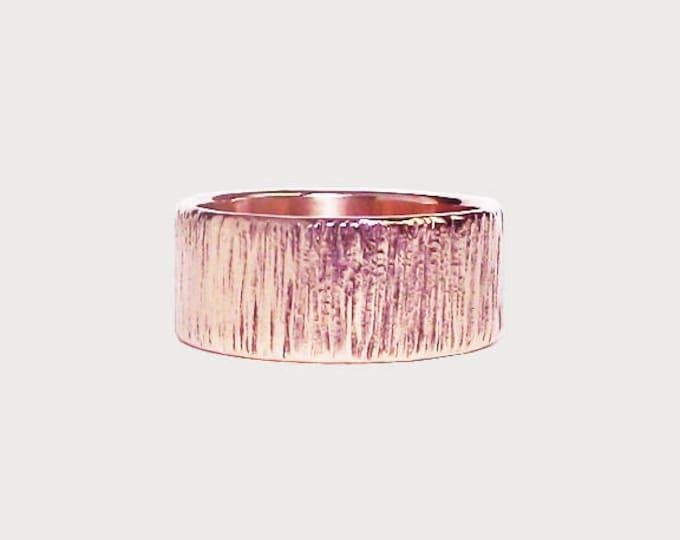 Carved Into Wood_  14K Rose Gold Wedding Band, Handmade Wedding Ring, Tree Bark Texture Wedding Band