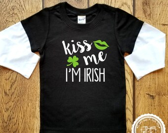 St Patricks Day Kiss Me I'm Irish Shirt- Baby's First St Patty's Day- Shamrock- Luck of the Irish- Too cute to Pinch- Infant toddler #076