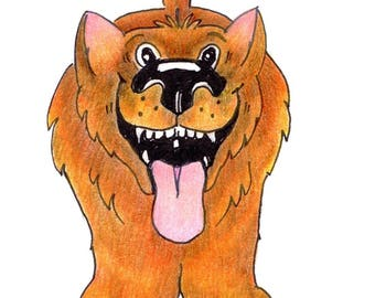 Laughing Dog, Greeting Card, Original Illustration Print, Birthday Card, Notelet, Blank Card