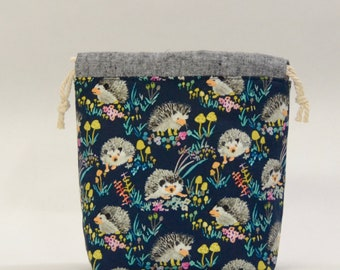 Happy Hedgehog Navy Small Drawstring Knitting Project Craft Bag - READY TO SHIP