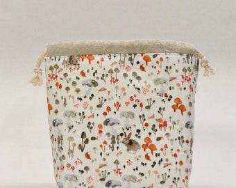 Mushroom Hideaway Small Drawstring Knitting Project Craft Bag - READY TO SHIP
