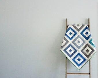 Custom Baby Boy or Girl Quilt, Baby Blanket, Crib Quilt, Stroller Blanket - Striped Squares