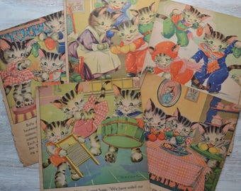5 Vintage Ruth Newton Kittens Children's Book Pages