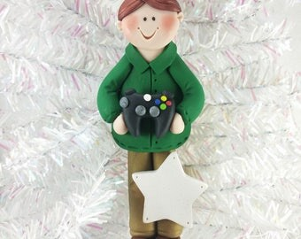 Video Gamer Christmas Ornament - Male Video Game Player - Gamer Boy Ornament - Gift for Teen - Gift for Tween - Fan Boy Ornament - 676