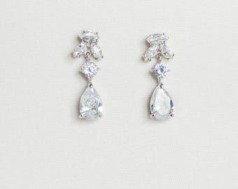 Bridal Earrings, CZ Wedding Earrings, Wedding Earrings, Silver Zirconia Earrings, Teardrop Earrings, Wedding Jewelry