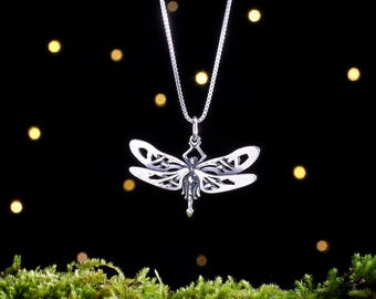Sterling Silver Celtic Dragonfly Pendant - Small - (Pendant or Necklace)