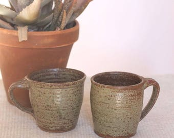 two for tea -- set of 2 70s earthenware handmade mugs