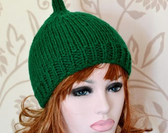 Bottle Green Womens Knitted Pixie Hat,  Chunky Knit Hat, Uk Hats, Fashion Hat, Accessory, Fall,