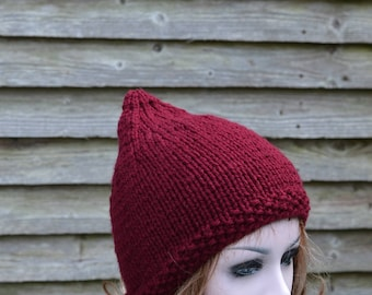 Womens Pixie Hat, Knit Hat, Beanie Hat, Uk Hats, Burgundy Hat, Winter Hat, Fall, accessory, Gnome Hat,