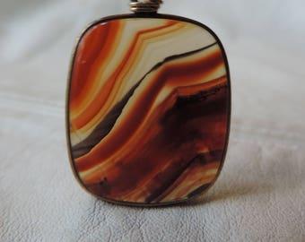 art deco necklace agate pendant sterling unusual chain