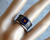 Vintage Wide Sterling Silver Ring w/ Inlaid Tiger's Eye, Lapis Lazuli, Onyx Stones in Concentric Squares - Artisan Signed - Size 9 - Tribal
