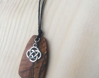 Reclaimed Wood Pendant Necklace Celtic Knot Gypsy Boho Spalted wood jewelry Hemp Cord Ready to ship