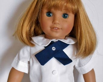 White peter pan collared blouse with navy blue tie fits American Girl