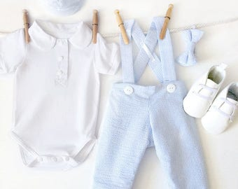 5 Piece Boys Clothing Set, Baby Blue Seersucker Pants, Boys Overall Set, Boy Wedding Clothes, Boys Wedding Outfit, Little Gentleman Outfit