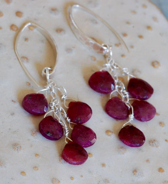 Ruby Tear Drop Earrings - Hammered Sterling Silver