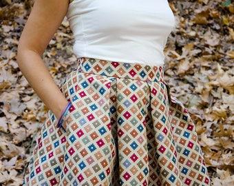 Geometric Brocade Skirt, Full Mini Skirt, Edgy Woven Skirt, Plus sizes,Modern Retro Skirt