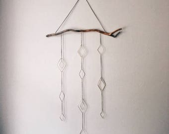 Large Diamond Wire Brass Wall Hanging / Home Decor / Geometric / Driftwood / Mobile