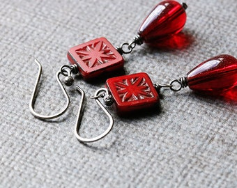 Sterling Silver Red Earrings | Rustic Bead Earrings | Dangle Earrings | Ruby Red | Birthday Gift for Her | Bright Red | Red Drop Earrings
