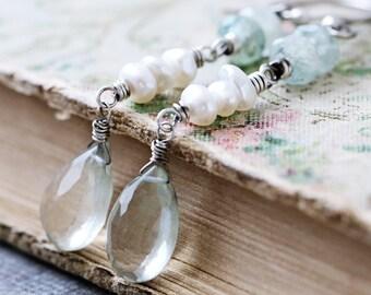Stone Dangle Earrings | Pearl | Boho Rustic Earrings | Aquamarine | Green Amethyst Earrings | Sterling Silver | Wire Wrapped | Healing Stone