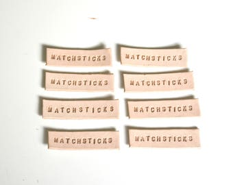 3/8'' Natural Leather Labels, 7-12  letters, 3 OZ Custom Leather Labels, stamped leather tag, embossed , create your own labels