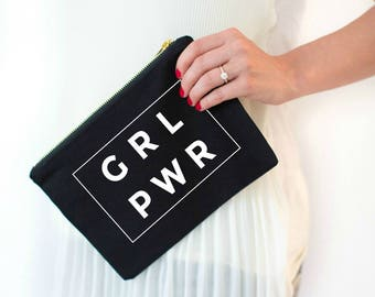 girl power cosmetic bag, girl boss, grl pwr, grlpwr, grl pwr shirt, makeup bag, bachelorette party gift, bridal party gift, gift for her
