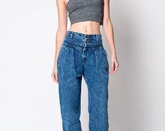 Lee Vintage Acid Wash Denim High Waisted 1980s Jeans Size 26