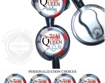 """1 1/2"""" Design Stethoscope ID Tag - Personalized Red, White, and Blue Flower Trauma Queen Emergency Nurse Littmann Identification (A361)"""