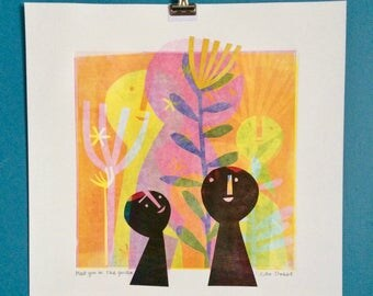 Meet you in the garden - original collage and monoprint wall art