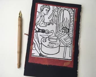 Blacksmith Notepad with cotton paper, craft journal, softcover album, pamphlet book, mixed media notebook, blank chapbook, art journal