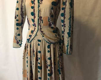 Vintage Silk Mary McFadden for Jack Mulqueen Abstract Watercolor Painting Skirt Suit M