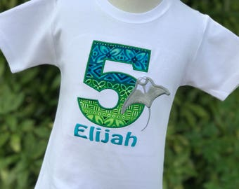 Stingray Birthday Shirt - Polynesian - Personalized Birthday Shirt - Manta Ray -Tropical Party - Under the Sea Birthday - Aquarium Party