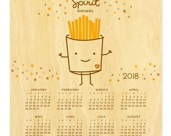 French Fries Spirit Animal Calendar - 2018 Hanging Calendar - Real Birch Wood - Fries - My Spirit Animal - WCAL028