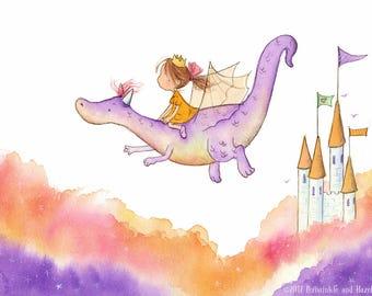 The Princess and the Dragon - Brunette Girl on Purple Dragon - Art Print - Children