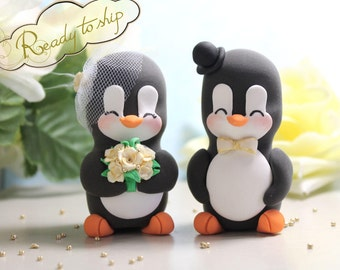 Unique wedding cake toppers figurines bride groom Penguins - elegant funny personalized black white cream ivory gold READY TO SHIP